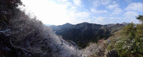 稜線上で木々の枝にも雪